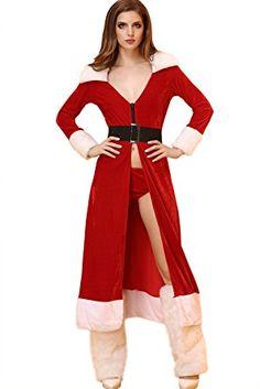 0572ce00ec Amazon.com  Kissria Womens and Ladies Velvet Sexy Lingerie Red Miss Santa  Claus Christmas Fancy Dress Hen Night Costume Set  Clothing
