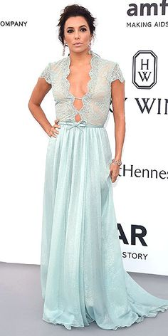 Kendall! Sienna! Karlie! Every Jaw-Dropping Look at amfAR | EVA LONGORIA | The best thing about Eva's powder-blue gown? It'll transition into a very glamorous nightie when the evening's over.