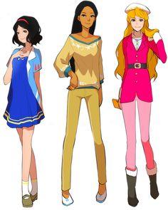 Modern Princess Snow White, Pocahontas and Aurora