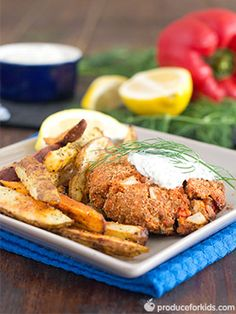 Baked Salmon Cakes & Potato Wedges - Salmon cakes and potatoes get a healthy redux by baking vs. frying.