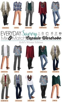 Kohl's winter capsule wardrobe.Fun poncho, plaid shirt & comfy cardigan. Mix and match for 15 outfits with lots of color and style. via @everydaysavvy