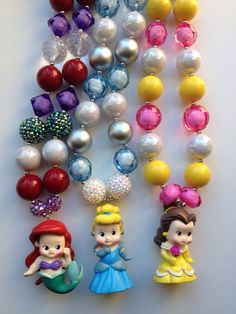 Princess chunky necklace..chunky bead necklace.. Ariel necklace.. Cinderella necklace.. Belle necklace.. Princess necklace.. Kids necklace by GirlzNGlitter on Etsy https://www.etsy.com/listing/174728481/princess-chunky-necklacechunky-bead