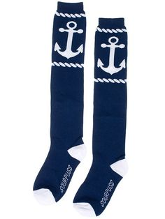 "Whether you are heading out for an adventure on the high seas or enjoying some well earned shore leave, there is one thing that is for sure. You can never have enough clean socks. These 17"" navy blue socks feature white anchor and rope detail."