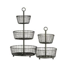 "Tiered display and serving baskets are handcrafted of iron wire in a distinctive rustic ""weave"" and finished in a multistep process of zinc plating, dipping and rubbing to create the beautiful, dark antiqued patina. 100% ironAntique zinc finishFoodsafeHand madeClean with a damp clothMade in India."