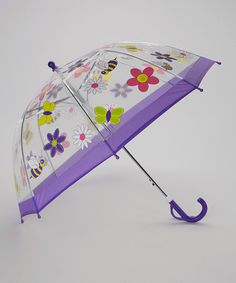 Another great find on #zulily! Clear & Purple Flower Umbrella #zulilyfinds