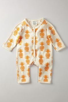 Organic Long Sleeve Romper Pineapple print