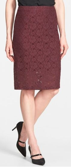 pretty marsala lace pencil skirt