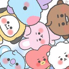 Funny Phone Wallpaper, Cute Disney Wallpaper, Cute Cartoon Wallpapers, Bts Wallpaper, Bts Chibi, Cute Kawaii Drawings, Kpop Drawings, Dibujos Cute, Bts Backgrounds
