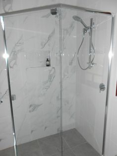 New shower with wall tiles in marble Bathroom Renovations Brisbane, Beach House Bathroom, Wall Tiles, Norman, Marble, Bathtub, Shower, Park, Room Tiles