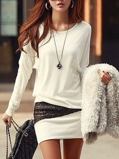 Simple Style Scoop Neck Long Sleeve Sequin Embellished Packet Buttock Cotton Blend Dress For Women can be bought from Rose WholeSale Online Store with Promo Codes and Coupons. Look Fashion, Autumn Fashion, Womens Fashion, Fashion Trends, Fashion Dresses, Fashion Clothes, Fashion Accessories, Mode Outfits, Stylish Outfits