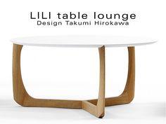 LILI table basse lounge ronde piétement chêne massif