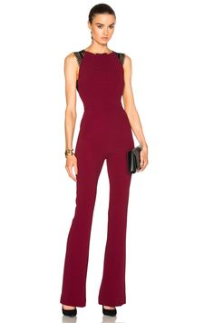 Image 1 of Roland Mouret Cross Double Crepe & Lace Jumpsuit in Cherry Red & Black