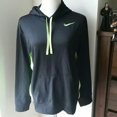 Nike hoodie Mint condition. No holes. No stains. No pilling. Deep black in color with neon green. (I couldn't get the lighting right).  Thermal fit. Loose small/tighter medium. Wide cut. Depends on your preference. ⚠Single item offers thru offer tab only/bundles recieve 15% off using bundle feature⚠  ❌No trades ❌No other sites  ❌No pay pal (42) Nike Tops Sweatshirts & Hoodies