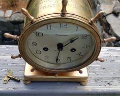 Waterbury Clock Co. Ships Wheel Brass Mantel Clock Metro Life Insurance 1920s #Nautical #Waterbury