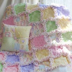 Image detail for -ABC Baby Rag Quilt in Soft Pastels Exclusive at Quilts Just 4 Kids