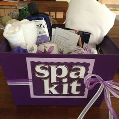 Relax spa gift box DIY birthday gift!! Will try this soon. Final touch- wrap it in cellophane