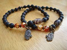 Matching Bracelets, Love, Protection, Yoga, Hamsa Hand, Semi Precious Tibetan Agate, Fire Agates, Onyx, Brass, Hamsa Hand Charm Bracelet by tocijewelry on Etsy