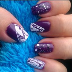 Random Purple Design I came up with this when I was swatching the purple nail polish. So I decided to add more and this is what I came up with.  #Nails #nailslover #purplenails #crackednaildesign #blackandwhiteglitter #glitterpolish #avonnailpolish