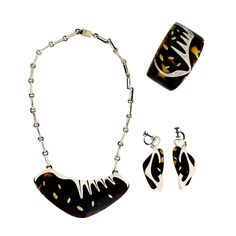 Enrique Ledesma Taxco Sterling Silver & Tortoise Shell Jewelry Suite 1953 | From a unique collection of vintage drop necklaces at http://www.1stdibs.com/jewelry/necklaces/drop-necklaces/