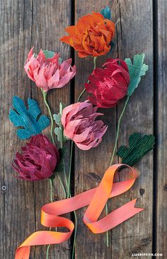 DIY Crepe Paper Mums: these beautiful paper flowers are perfect for fall, and the crepe paper flower colors are just gorgeous! How To Make Paper Flowers, Tissue Paper Flowers, Paper Roses, Handmade Flowers, Diy Flowers, Fabric Flowers, Flower Colors, Diy Paper, Paper Crafts