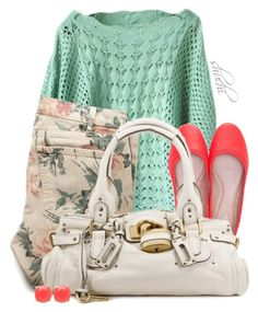 """""""Pop of Coral"""" by shuchiu ❤ liked on Polyvore featuring Current/Elliott, Chloé, Mimco, women's clothing, women's fashion, women, female, woman, misses and juniors"""