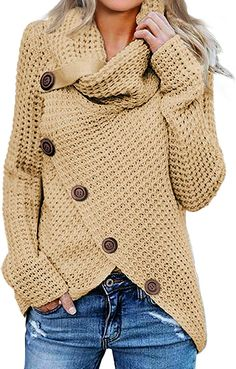 New Womens Sweaters Chunky Cable Knit Turtle Cowl Neck Asymmetric Hem Wrap Sweater Pullover Tops Coat Button Details online shopping - Allpremiumstore Wrap Sweater, Sweater Coats, Long Sleeve Sweater, Pullover Sweaters, Comfy Sweater, Sweater Outfits, Fall Outfits, Pullover Pullover, Turtleneck Outfit
