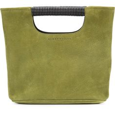 Simon Miller cut-handle tote ($435) ❤ liked on Polyvore featuring bags, handbags, tote bags, green, leather tote bags, leather purses, leather tote, green handbags and green tote