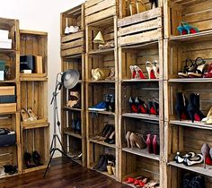 Turn wooden crates into a shoe closet to keep your kicks organized.