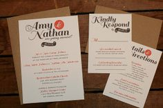 A Fresh Look DIY 3 Piece Digital Wedding Invitation Suite with RSVP and Details