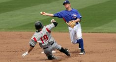 Matt Tolbert avoids the slide and goes for the out at first. Iowa Cubs, Baseball Cards, Sports, Hs Sports, Sport