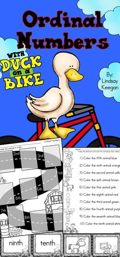 Fun hands-on activities for learning about ordinal numbers with Duck on a Bike by David Shannon.