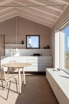 The interior expresses the language of a simple timber construction, layered with crafted finishes, a soft palette, and vast windows framing the uninterrupted views to the sea, creating a warm, comfortable interior connected to the landscape. #architonic #nowonarchitonic #interior #design #furniture #architecture #architecturedesign #interiordesign #dailyarchitecture #architecturephotography #architecturelovers #projectdesign #livingspace #moderninterior #modern #designlover #holidayhouse Interior Fit Out, Interior Design, Raised Bedroom, Concrete Fence Posts, Sunken Bath, Zinc Cladding, Tv Nook, White Washed Oak, Shaker Style Doors