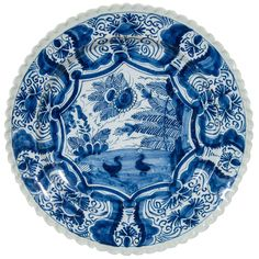 18th Century Blue and White Dutch Delft Charger | 1stdibs.com