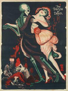 """The Dance of Death"" (1919) by German expressionist Josef Fenneker. Death grim reaper Father Time scythe maiden girl woman dance danse macabre skull skeleton"
