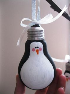 penguin light bulb ornament . Christmas, recycled, green, cheap gift