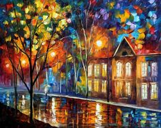 When The City Sleeps - Leonid Afremov  I love how in a majority of his paintings it looks like its raining. It is so beautiful.