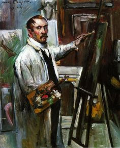 Lovis Corinth, Self Portrait in the Studio. Oil on canvas, Staatsgalerie moderner Kunst Munich. It was confiscated and sold by the Nazi regime at the Galerie Fischer auction in Switzerland in Henri Rousseau, Henri Matisse, Paula Modersohn Becker, Ludwig Meidner, George Grosz, Selfies, Digital Museum, Pierre Auguste Renoir, Post Impressionism