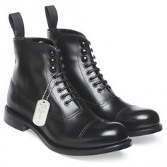 Cheaney Lancaster Military Style Ankle Boot in Black Calf Leather