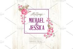 Marriage invitation card with text. by Romantic Vintage Flowers on @creativemarket