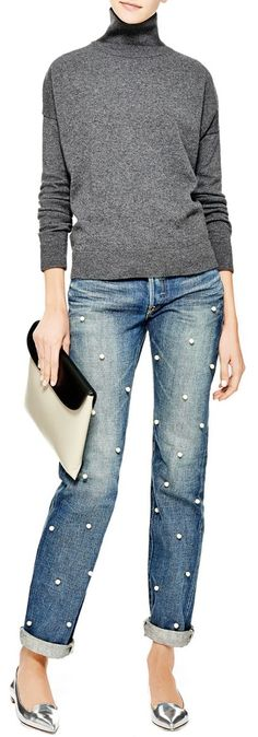 Pearl Embellished Jeans by Tu es mon Tresor