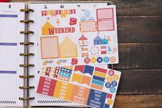 Carnival themed planner sticker sampler at BellaRoaePaperCo #planners #planneraddict #carnival #erincondren #plannergirl