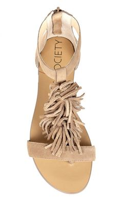 Genuine suede fringe sandal with a back zipper, T-strap shape and an artisan sock insole (for an all-day dry fit). Trendy Shoes, Cute Shoes, Me Too Shoes, Heeled Boots, Shoe Boots, Fashion Shoes, Fashion Accessories, Fringe Sandals, Shoe Show