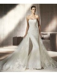 Lace Tulle Mermaid Strapless Softly Curved Neckline Wedding Dress