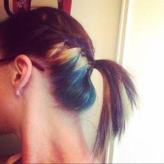 Black blonde and teal hair. Braided ponytail