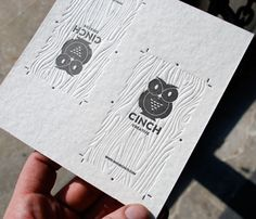 Nice little owl illustration/logo for this identity. Also beautiful execution on the blind embossed wood grain of the card.