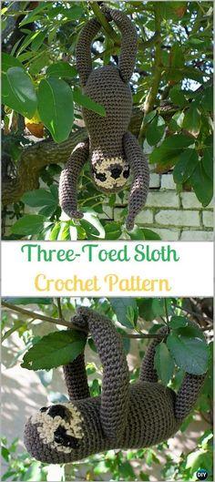 Crochet Amigurumi Three-Toed Sloth Paid Pattern-Crochet Sloth Amigurumi Toy Softies Patterns