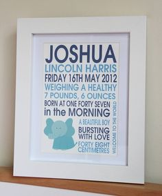 This personalised Birth Announcement Print is a perfect keepsake gift for a new baby boy. This beautiful print can be personalised with six elements of their birth, plus three personal sayings. The print shown is personalised with first name, middle name and surname, date, weight, time born and length. We have also added three personal sayings. The Print is printed on natural white, 100% cotton fine art heavy weight archival paper which features a distinct textured surface... £28.00