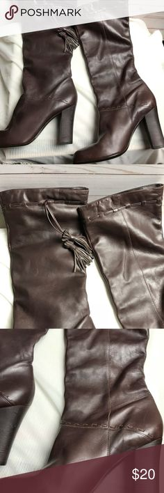 """Brown leather knee length heel boots Brown leather knee length Boots   Made in Brazil US Size 8 Shaft length 15.5""""  Calf top measures 16"""" around Chunky Heel 4""""  Good shape, minimal wear. Slip on. Could not find brand name. Just shows made in Brazil and leather on inside. Shoes Heeled Boots"""