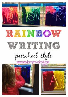 Rainbow Writing preschool-style!  Strengthen fine motor muscles and practice writing skills while creating new colors in preschool or at home!