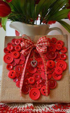 Valentine Button Heart on burlap canvas